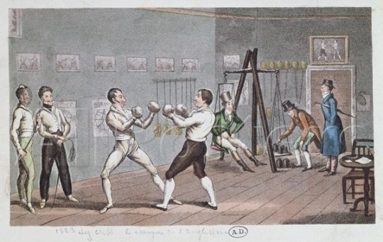 Английский бокс в фехтовально-гимнастическом зале. Гравюра 1823 года.