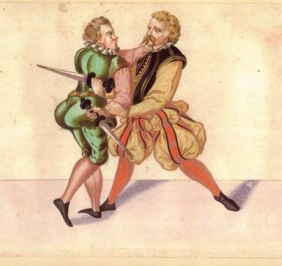"Dagger Fighting; Germany, c. 1550. ""Codex Amderger"""