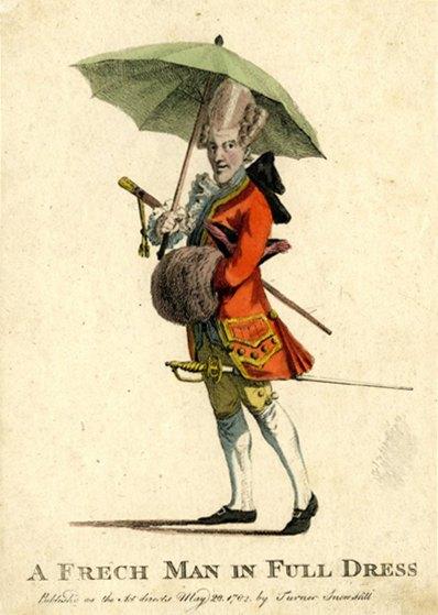 Французский мужчина готов к прогулке с парасолькой, тросточкой, муфтой и smallsword - непременных атрибутов современного и модного человека. 1782 год.