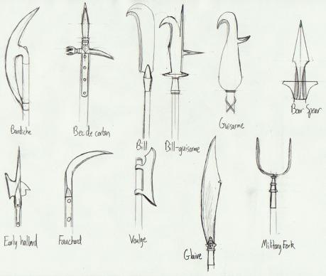Варианты форм наконечников древкового оружия.