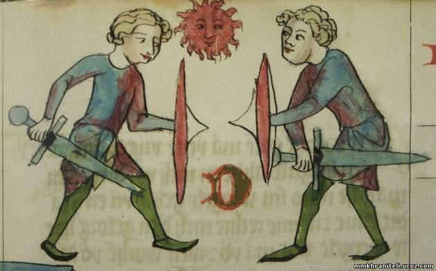 Меч и щит . Дрезден, «Саксонское зерцало» (вероятно, около1230г).