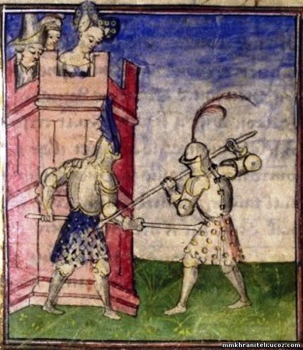 Гравюра из романа о Тристане. Tristan de Léonois, France, Paris (1407-1410).